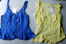 NEW NWT Lot of Two Anthropologie Odille Top Blouse Sz. 10, Blue & Yellow