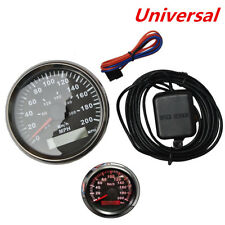 "Universal 3 3/8"" GPS Speedometer Odometer Black Dial Red LED  0-200MPH 0-300KM/H"