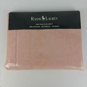 Vintage Ralph Lauren Avery Pink Paisley Floral TWIN Flat sheet NIP New Sealed