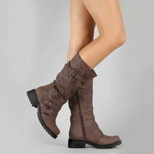 Women Buckle Mid-Calf Ankle Boots Ladies Low Heel Zip Up Casual Shoes Size 4-6.5