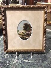 Italian Landscape mini original oil painting , Framed and signed