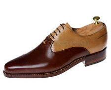 Handmade Men's Leather Oxfords Beige & Brown Round Toe Magnificent Shoes-699