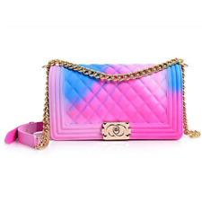 New Jelly Bay Ladies Shoulder Jelly Bag PVC Fashion Handbags Color Matte Rhombic