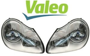 Valeo Pair Set of Left & Right Headlight Assemblies Halogen For Porsche Cayenne