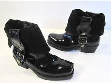 Womens Ankle Boots Black Patent Leather Size 6