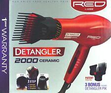 RED BY KISS 2000 CERAMIC DETANGLER HAIR BLOW DRYER DOUBLE LAYER PIK #BD10N