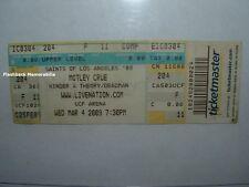 MOTLEY CRUE Concert Ticket 2009 UCF ARENA ORLANDO Deadman RARE Hinder & Theory