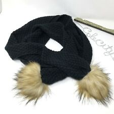 Lauren Ralph Lauren Scarf Knit Black Furry Puff Soft