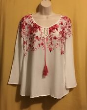 Chenault women's ivory red pink embroidered ls rayon summer keyhole top S $88