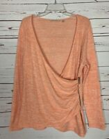 Soft Surroundings Women's Size M Medium Peach Cute Faux Wrap Fall Sweater Top