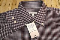 NWT Peter Millar Mens L Crown Fleece Stretch Blue Check Long Sleeve Shirt silk