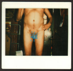 Nude man guy out of frame GAY INT old photo POLAROID #33276