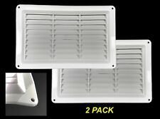 2 x Air Vents Grille Louvred 260 x 165mm White Plastic with Cracked Corner