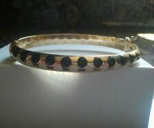 CARINO 14k gold black & white Enamel DOT Bangle /Bracelet Rare Stunning Piece.