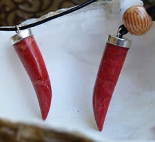 Anhänger Silber 3,2 cm Koralle Rot Orange Zahn Verziert Verpielt Royal Lilie