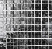 Mosaik schwarz black mit Spots Glasmosaik Fliese Bad Dusche Art:RL110 Restposten