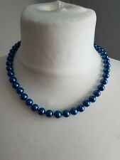 Ladies Pearl Necklace in Blue Natural 8mm Akoya Shell