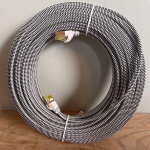 25M Long Flat RJ45 Cat7 Network LAN Ethernet 10Gbps F/UTP Gigabit Patch Cable