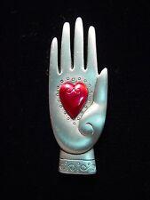 """'Heart in Hand' Pin """"Jj"""" Jonette Jewelry Silver Pewter"""