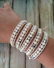 Beach Wrap Shell Beads Metallic White Pearl Leather Cord 5 Wrap Bracelet
