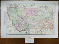 "Vintage 1900 MONTANA Map 22""x14"" ~ Old Antique Original BUTTE GREAT FALLS HELENA"