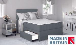Grey Divan Bed with Memory Foam Mattress & Headboard 4FT6 Double 5FT Kingsize!