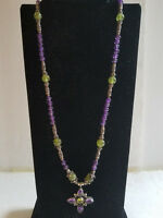 """Sterling Silver Amethyst & Peridot Necklace 16"""""""