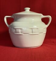 Longaberger Pottery Ivory Woven Traditions Cookie Jar Bean Pot With Lid