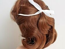 10 inch Dolls Wig AUBURN SHOULDER LENGTH HAIR RIBBON DETAIL CODE ROSE
