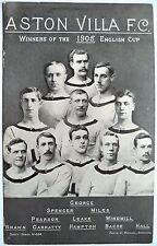 CALCIO ASTON VILLA vincitori della coppa F. A. 1905-cartolina vintage football