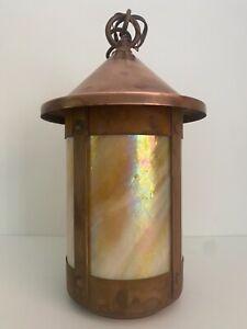 Arroyo Craftsman Berkeley Pendant Lamp  Gold Cream Iridescent Glass