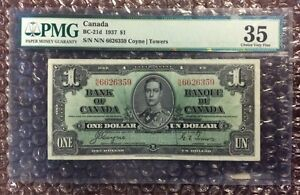 1937 $1 Canada Banknote BC-21d Coyne Towers PMG 35 EPQ S/N N/N 6626359