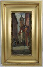 Viktor de Ruyter * 1870 pinturas ciudad/carretera escena con campanario... & personas