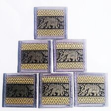 Elephant Silk Reed Coasters Bar Mats Beer Table Thai Dining Coaster Set 6 x Gray