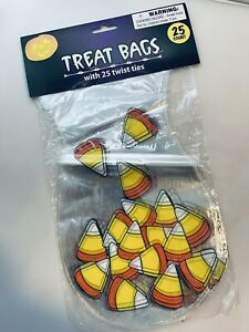 25 Count Halloween Holiday Party Treat Bags With Ties Candy Corn Clear Design