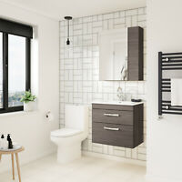 Athena Grey Avola Bathroom Furniture Vanity Cabinet Basin, Mirror, Bath Panel