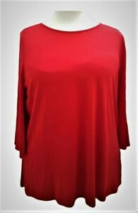 Womens Ladies New Red Tunic Top Blouse Boat Neckline UK Curve Plus Size 16 18/20
