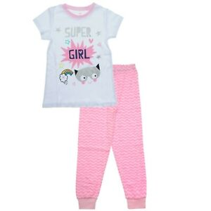 Pink Super Girl Pyjamas for 8 9 10 11 12 Years Olds | %100 Cotton