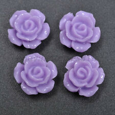 20pcs Purple Gorgeous Rose Flower Resin Loose Spacer Beads 12MM