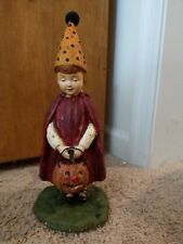 Vintage Halloween Postcard Witch Figurine Retired Ragon House Barton and Spooner