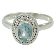 925 Sterling Silver BLUE TOPAZ GEMSTONE Ring Indian Fashion Jewelry