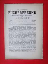 Frankfurter Bücherfreund  * Antiquariats-Katalog * Nr. 4 v. 1905