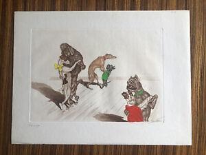 "Rare BORIS O'KLEIN Art Etching & Watercolor ""Tango"" Dirty Dogs of Paris."