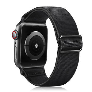 For Apple Watch Series iWatch SE 6 5 4 3 2 1 44 42 mm Stretchy Nylon Strap Bands
