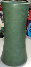 "Weller Matte Green 10"" Vase 1910 Arts & Crafts Era Pottery Pot Suevo Design"