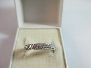 PRETTY PRE-OWNED 9ct WHITE GOLD 0.25ct DIAMOND 1/2 ETERNITY RING UK SIZE M  2.3g