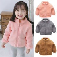 Toddler Kids Baby Girl Boy Zipper Warm Thick Fleece Coats Winter Outwear Outfits
