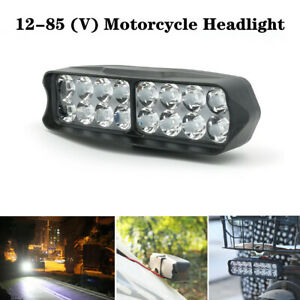 16 LED Motorcycle External Bulb White Headlight Rearview Mirror Mount Lamp Part