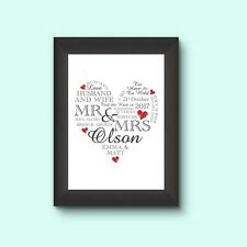 Wedding Day Print Personalised Word Art Gift Marriage Present Heart FRAMED A4