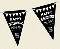 PERSONALISED CHALKBOARD BUNTING- HAPPY BIRTHDAY CHILDREN BANNER DECORATION PARTY